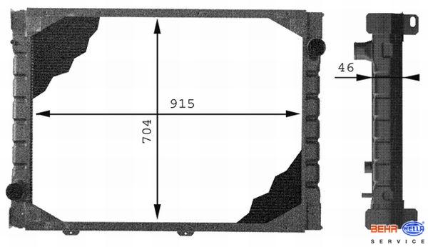 Chladič MAN F90  (1986-1997 MOT.D2865 LF/LFR/LXF/LXFR/LF01../LFR01) www.tirshop.sk BEHR